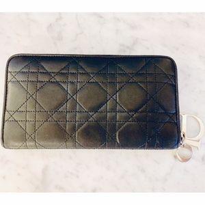 Dior Black Cannage Quilted Zip Around Wallet